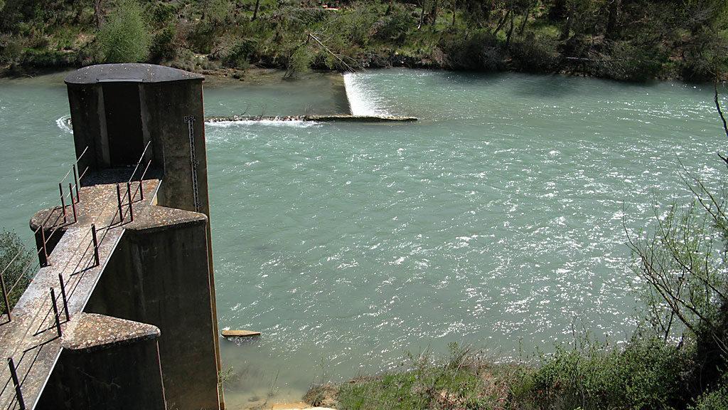 El Gállego aguas abajo del puente de Santa Eulalia