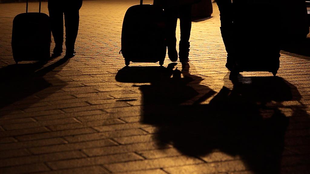 Viajeros en la estación de Huesca